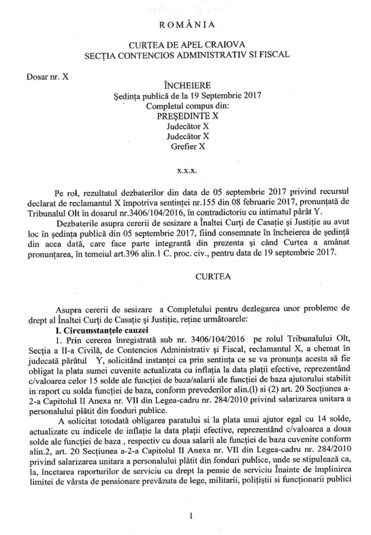 dezlegarea unor probleme de drept privind ajutoarele salariale neacordate militarilor după anul 2010